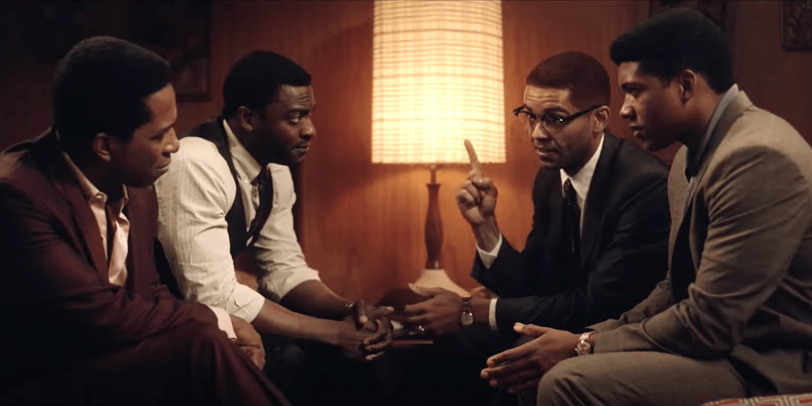 Muhammad Ali, Malcolm X, Sam Cooke, and Jim Brown talking